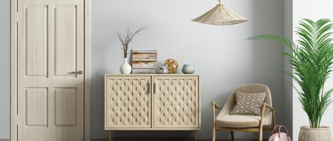 摄图网_300020148_wx_现代室内客厅木门,米色扶手椅梳妆台3D渲染(企业商用)