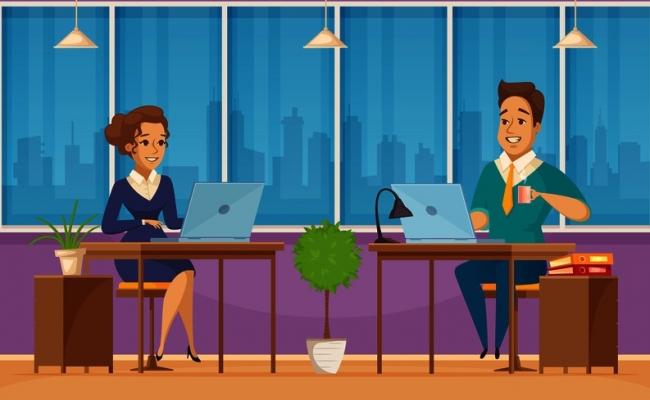 摄图网_300906128_banner_办公室工作人员人物2横向复古卡通横幅与队合作等待老板同事矢量插图上族人物卡通横幅(企业商用)